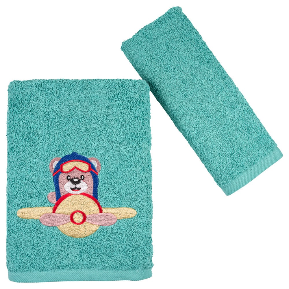 Πετσέτες Παιδικές Bear & Airplane Σετ 2τμχ Mint Astron Σετ Πετσέτες