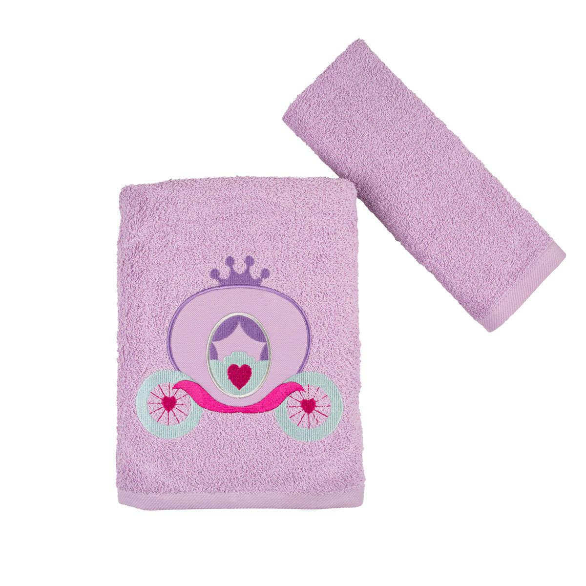 Πετσέτες Παιδικές Carriage Σετ 2τμχ Lila Astron Σετ Πετσέτες