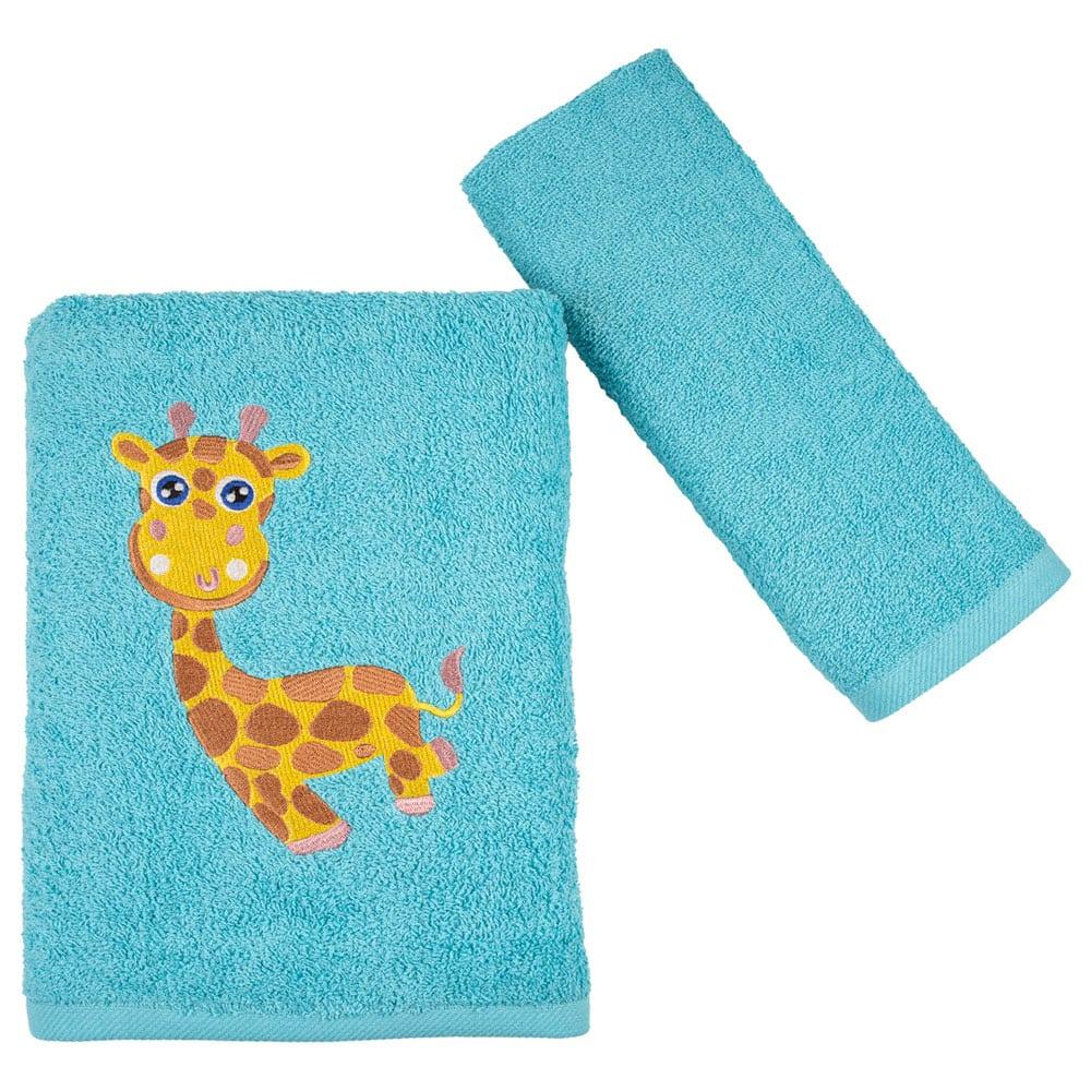Πετσέτες Παιδικές Girafe Σετ 2τμχ Turquoise Astron Σετ Πετσέτες