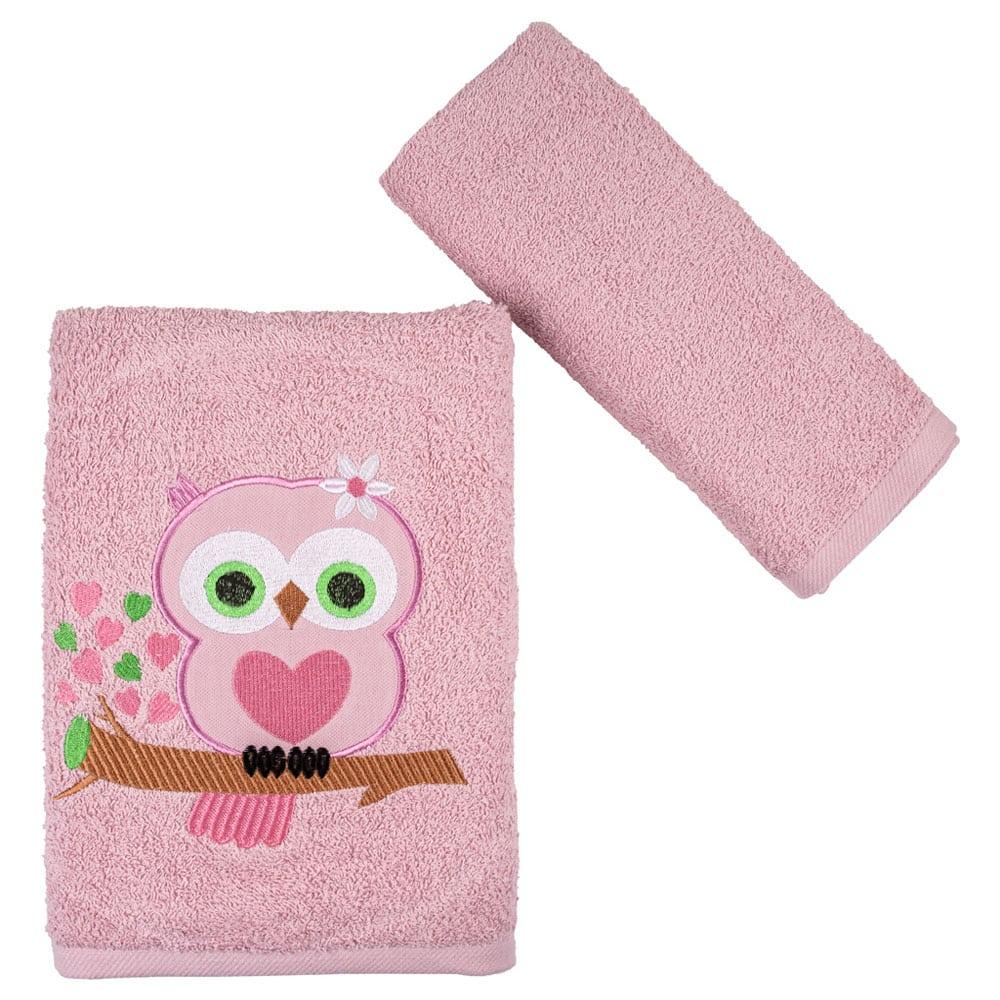 Πετσέτες Παιδικές Owl Σετ 2τμχ Pink Astron Σετ Πετσέτες