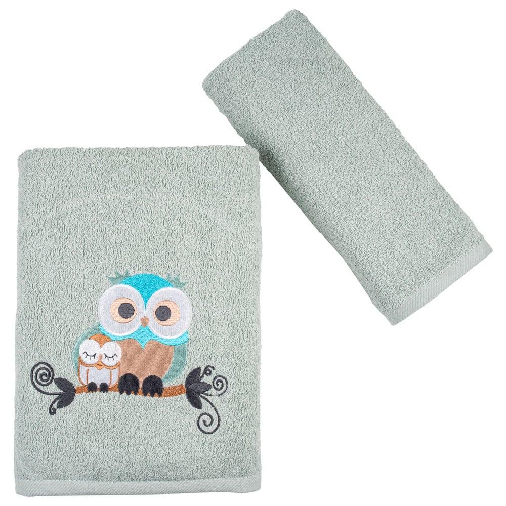 Πετσέτες Παιδικές Owls Σετ 2τμχ Light Grey Astron Σετ Πετσέτες