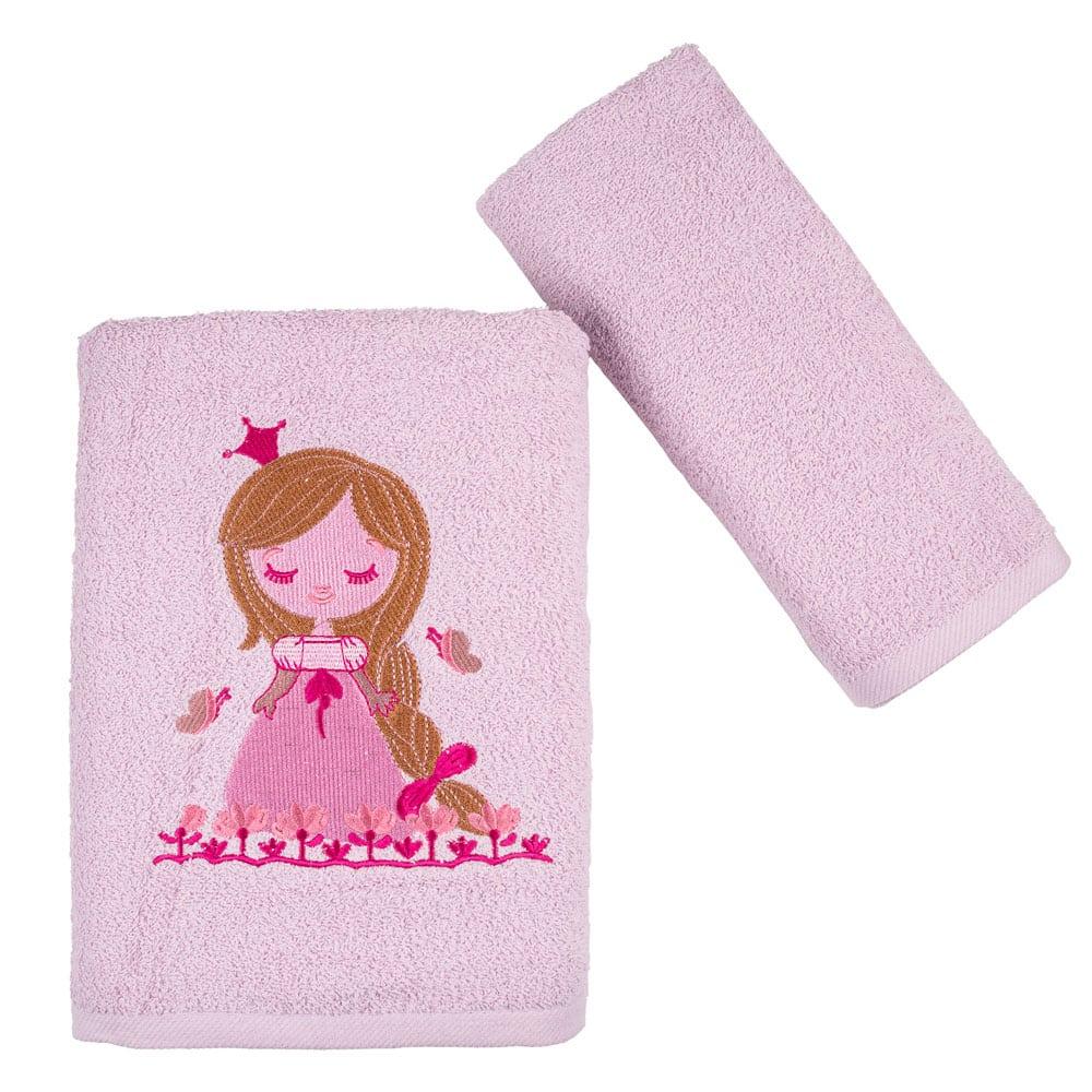 Πετσέτες Παιδικές Princess Σετ 2τμχ Lila Astron Σετ Πετσέτες