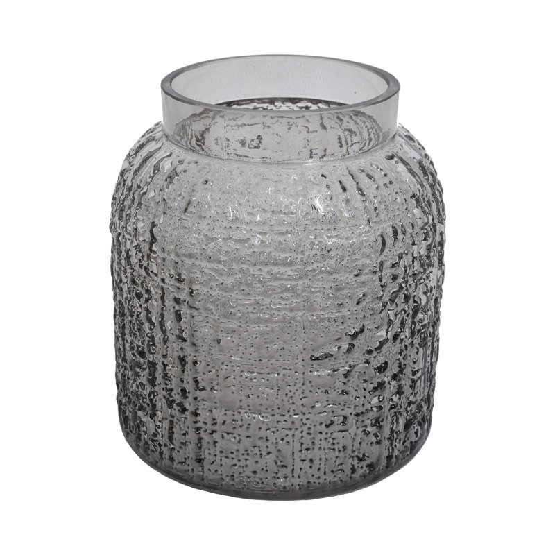 Βάζο 633-00-018 723 18x19cm Grey Γυαλί