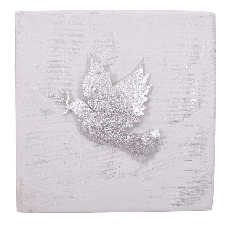 Διακοσμητικό Επιτοίχιο 905-18-028 Περιστέρι 20x20cm Silver Κεραμικό