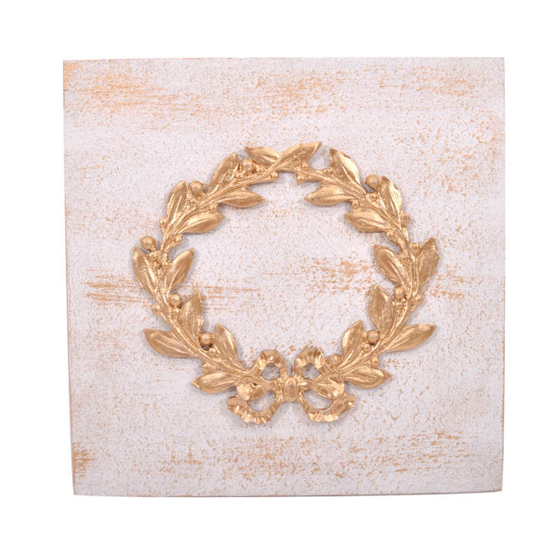 Διακοσμητικό Επιτοίχιο 905-18-038 Στεφάνι 30x30cm Gold Κεραμικό