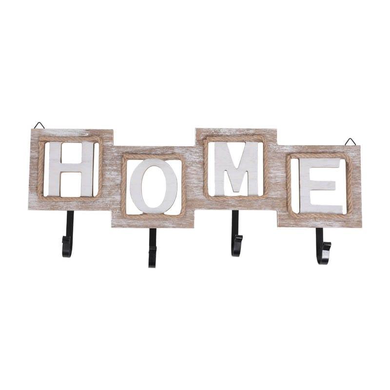 Κρεμάστρα Τοίχου Home 4 Θέσεων 373-00-406 47x19 Beige-White Μέταλλο,Ξύλο