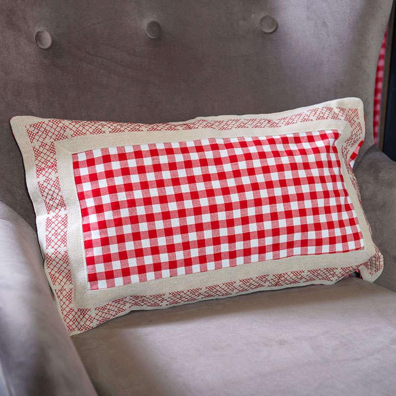 Μαξιλάρoθήκη Διακοσμητική Καρό 2J8011 Red Etiquette 30Χ50 100% Polyester