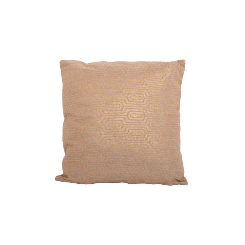 Μαξιλάρι Διακοσμητικό (Με Γέμιση) Khaki-Gold 1-382-92-022 Etiquette 45X45 Ύφασμα