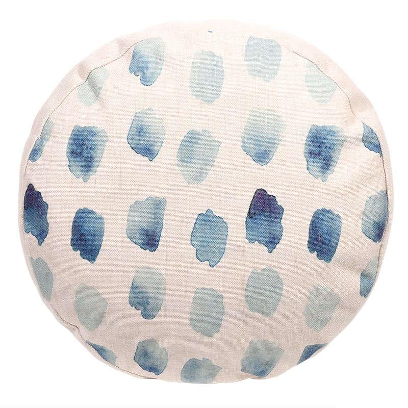 """Μαξιλάρι Διακοσμητικό (Με Γέμιση) Στρογγυλό """"Πινελιές"""" Light Blue-Blue Etiquette 45X45 Ύφασμα"""