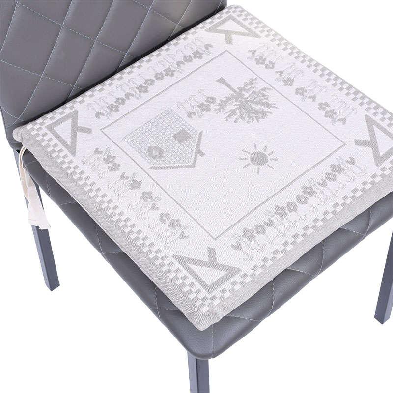 Μαξιλάρι Καρέκλας Zakar Σπιτάκια Beige-Grey Etiquette 40Χ40