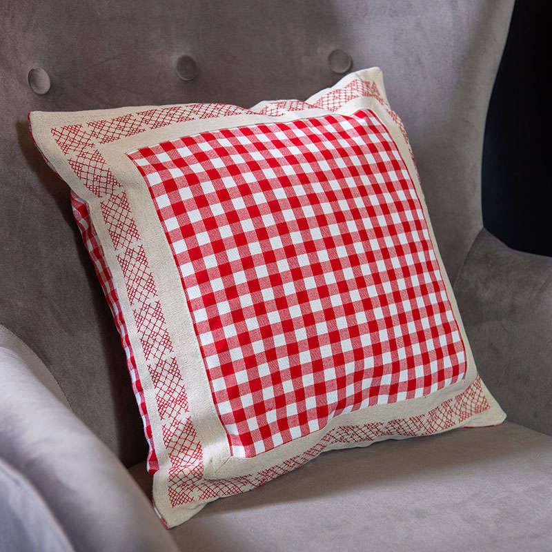 Μαξιλαρoθήκη Διακοσμητική Καρό 2J8011 Red Etiquette 40Χ40 100% polyester