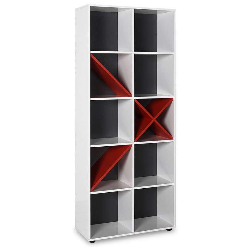 Βιβλιοθήκη Gaming Σε Λευκό-Κόκκινο-Ανθρακί Χρώμα 75X30X188Εκ 039-000049