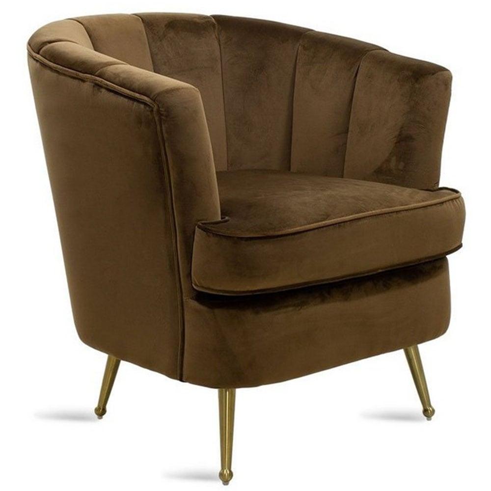 Πολυθρόνα Olson Ύφασμα Βελούδο 080-000015 Σκούρο Καφέ 75x76x78cm