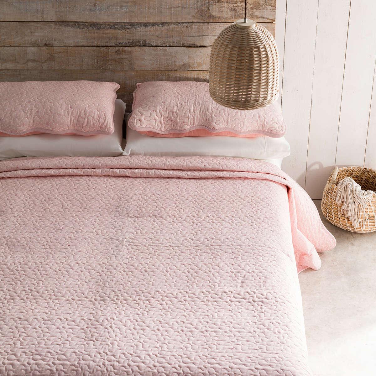 Κουβερλί Σετ 3τμχ Pindot Peach Pink 526A/25 Gofis Home Υπέρδιπλo 220x240cm