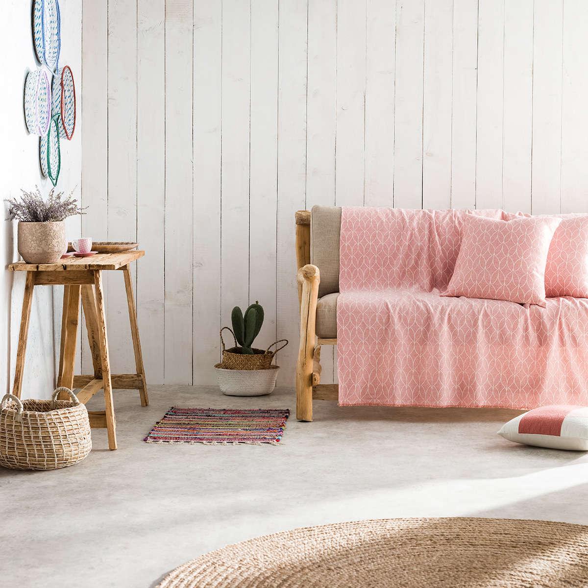 Ριχτάρι Lumien Pink 517/17 Gofis Home Τριθέσιο 180x310cm