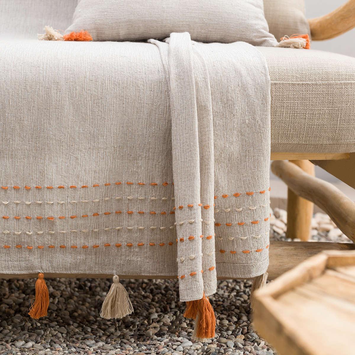Ριχτάρι Trace Orange 467/03 Gofis Home Τριθέσιο 180x310cm