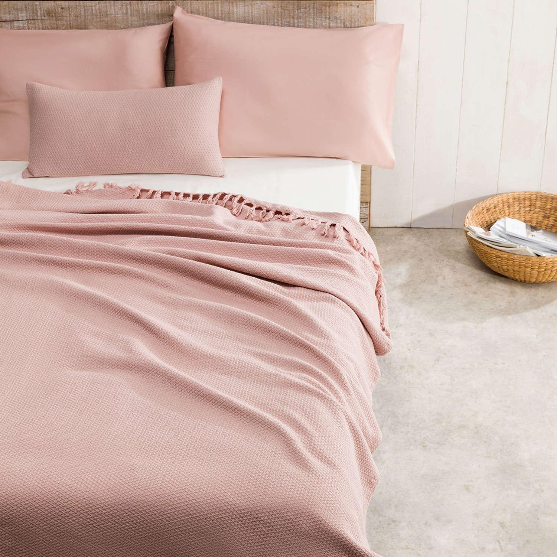 Κουβέρτα Powder 283B/17 Με Fringes Pink Gofis Home Μονό