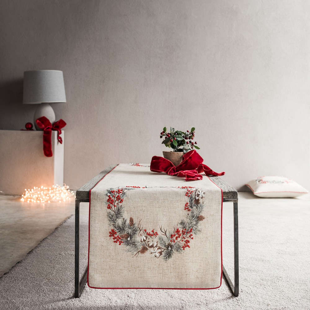 Runner Χριστουγεννιάτικο 995A Beige-Red Gofis Home 40Χ150 40x160cm