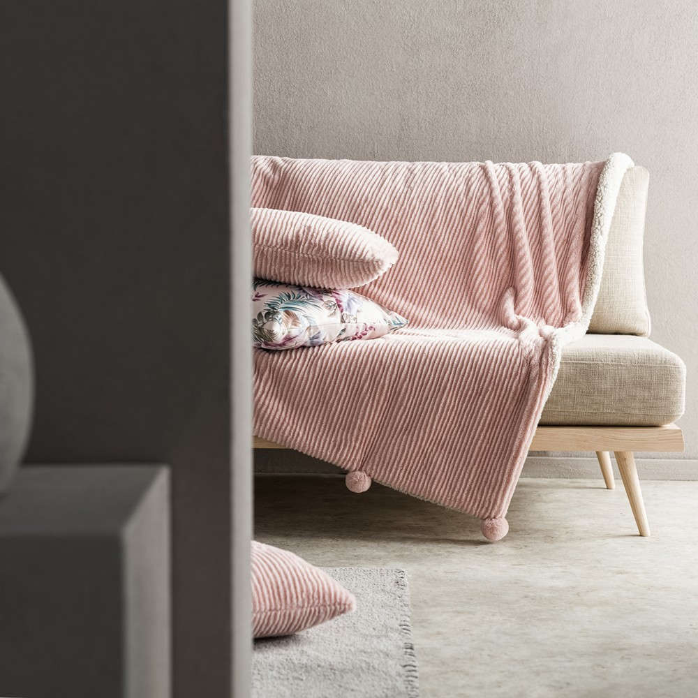 Κουβέρτα Καναπέ Softy 478/17 Peach Pink Gofis Home 150X180 130x155cm