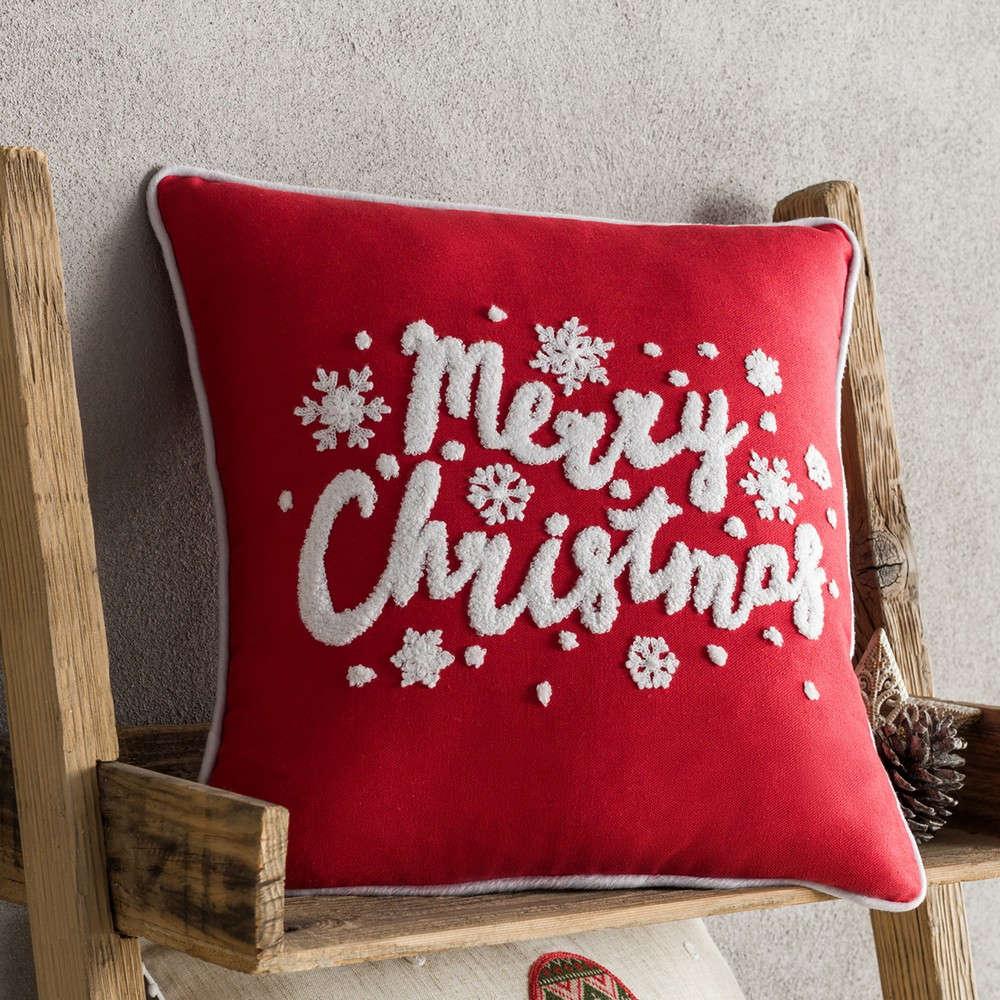 Μαξιλαροθήκη Διακοσμητική Χριστουγεννιάτικη 169 Red Gofis Home 45X45 43x43cm