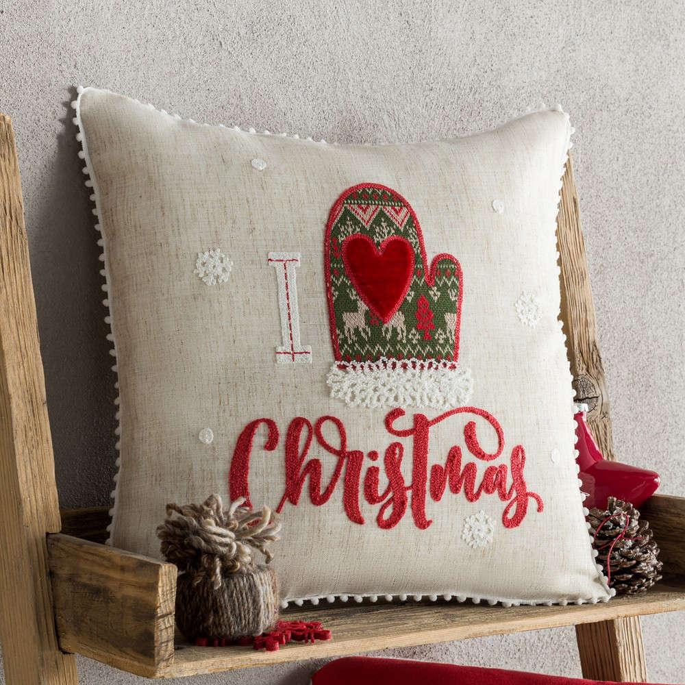 Μαξιλαροθήκη Διακοσμητική Χριστουγεννιάτικη 272 Ivory-Red Gofis Home 45X45 43x43cm