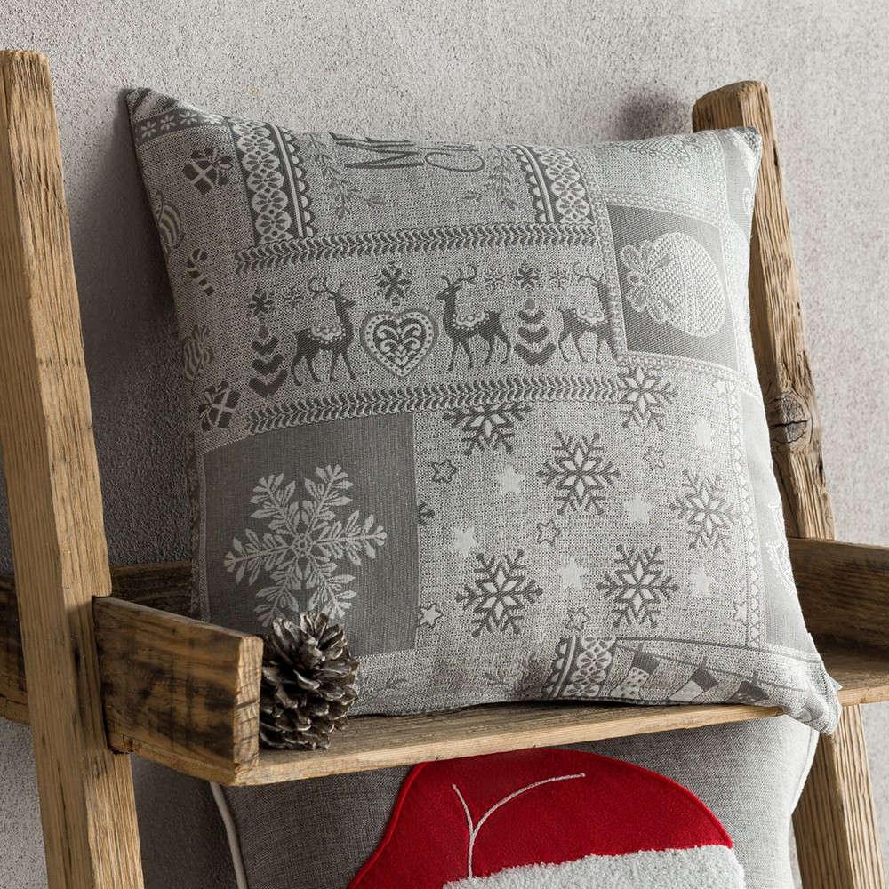 Μαξιλαροθήκη Διακοσμητική Χριστουγεννιάτικη 594/15 Grey Gofis Home 45X45 43x43cm