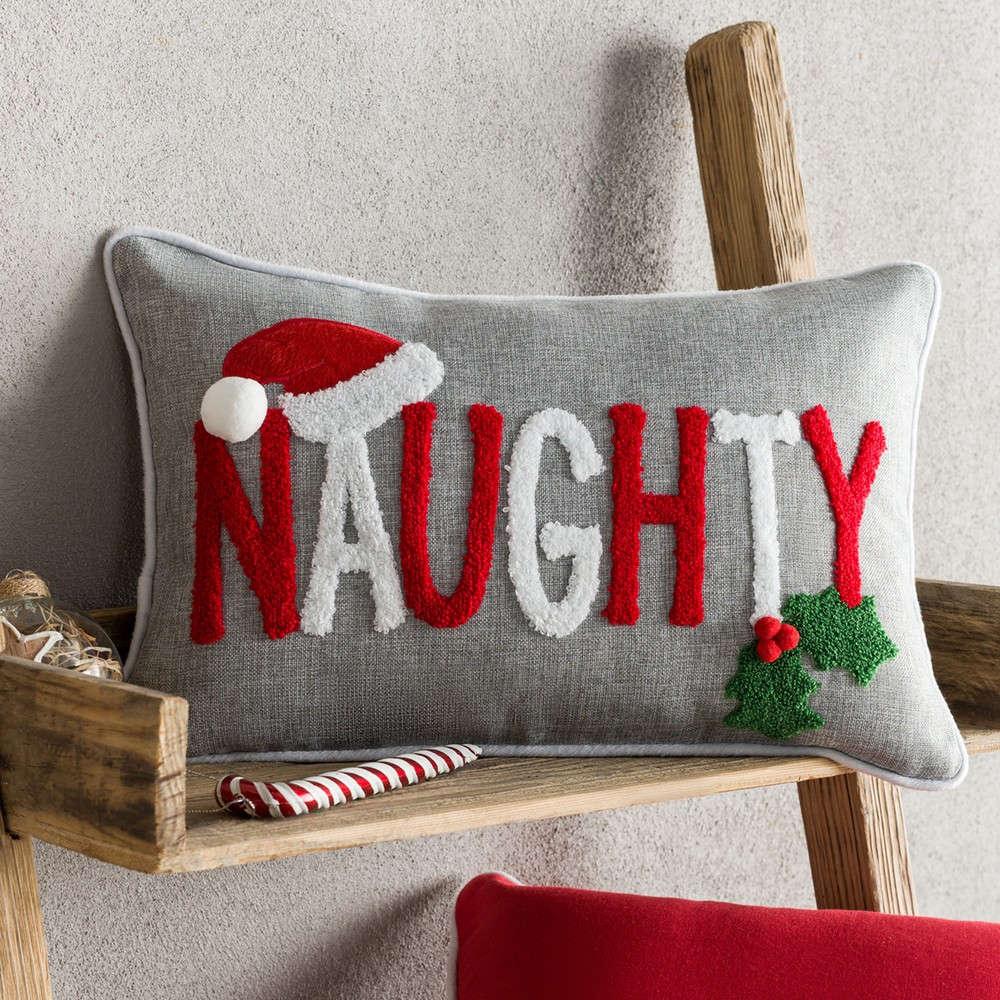 Μαξιλαροθήκη Διακοσμητική Χριστουγεννιάτικη 937 Grey-Red Gofis Home 30Χ50 30x45cm
