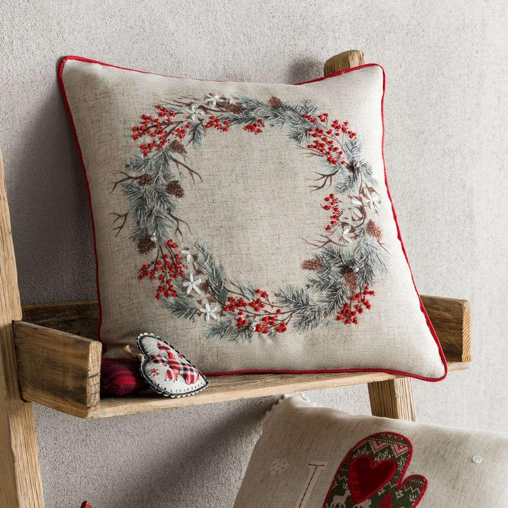 Μαξιλαροθήκη Διακοσμητική Χριστουγεννιάτικη 995 Ivory-Red Gofis Home 45X45 43x43cm