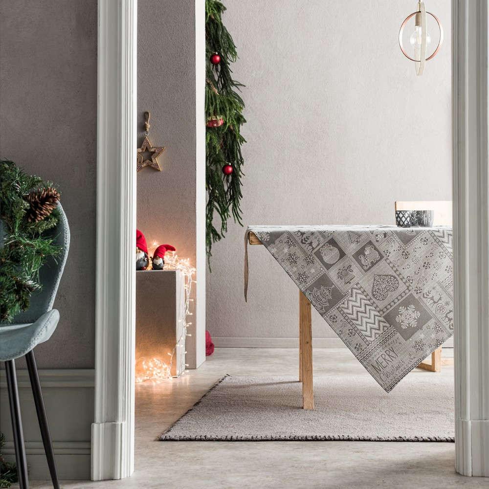 Τραπεζομάντηλο Χριστουγεννιάτικο 594/15 Grey Gofis Home 150X200