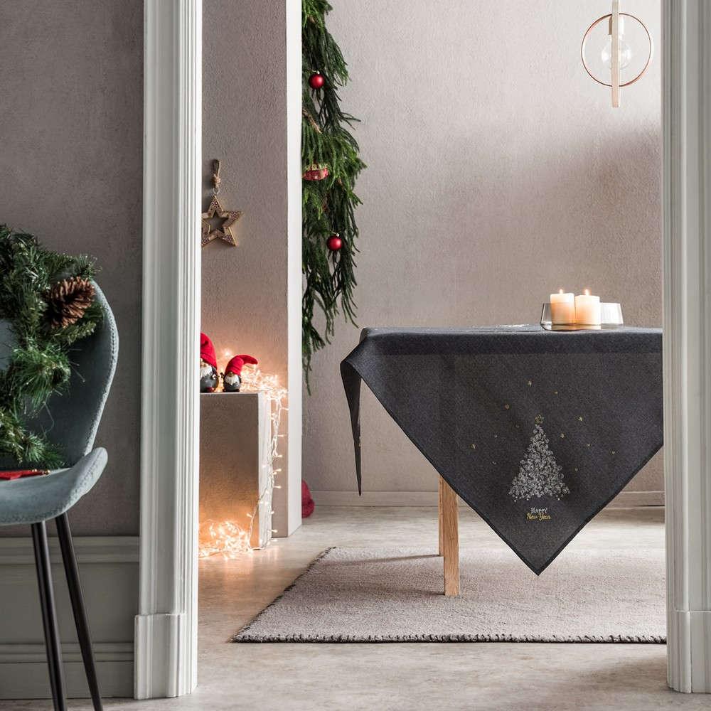 Τραπεζομάντηλο Χριστουγεννιάτικο 977/15 Grey Gofis Home 120X120