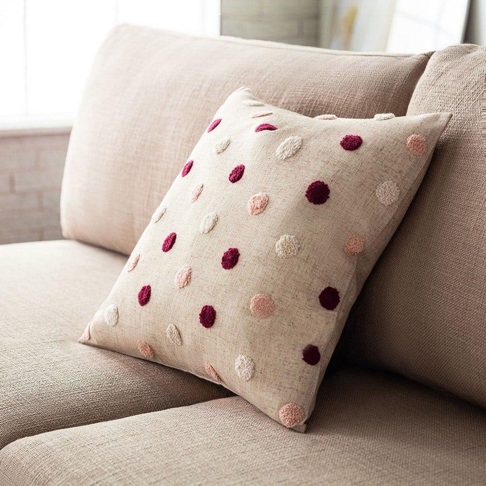 Μαξιλαροθήκη Διακοσμητική Felicia 206/02 Cherry-Pink-Ecru Gofis Home 45X45 Λινό-Polyester