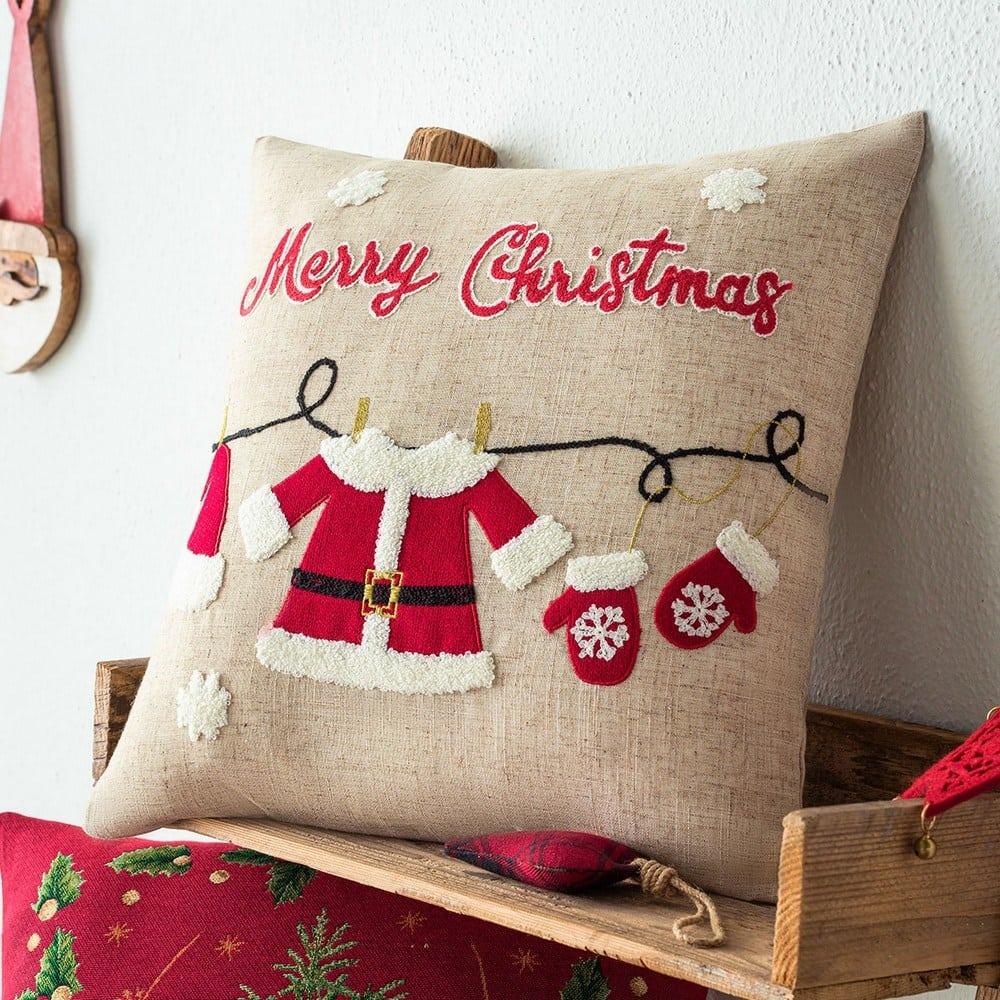 Μαξιλαροθήκη Διακοσμητική Χριστουγεννιάτικη 350 Beige-Red Gofis Home 45X45