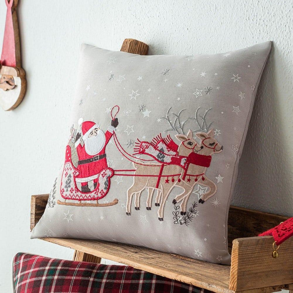 Μαξιλαροθήκη Διακοσμητική Χριστουγεννιάτικη 493 Beige-Red Gofis Home 45X45