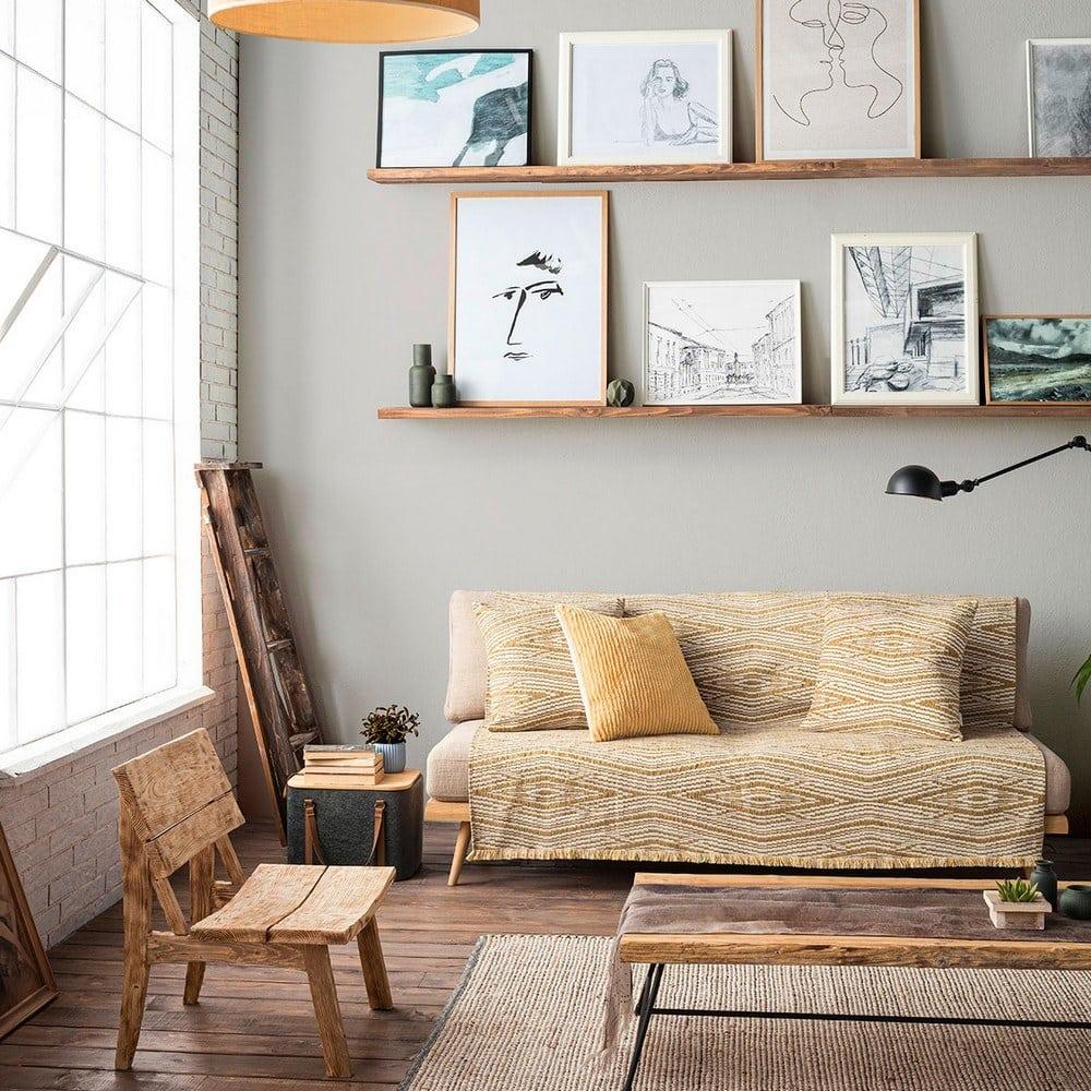 Ριχτάρι Streamy 663/10 Ocher Gofis Home Τετραθέσιο 180x350cm