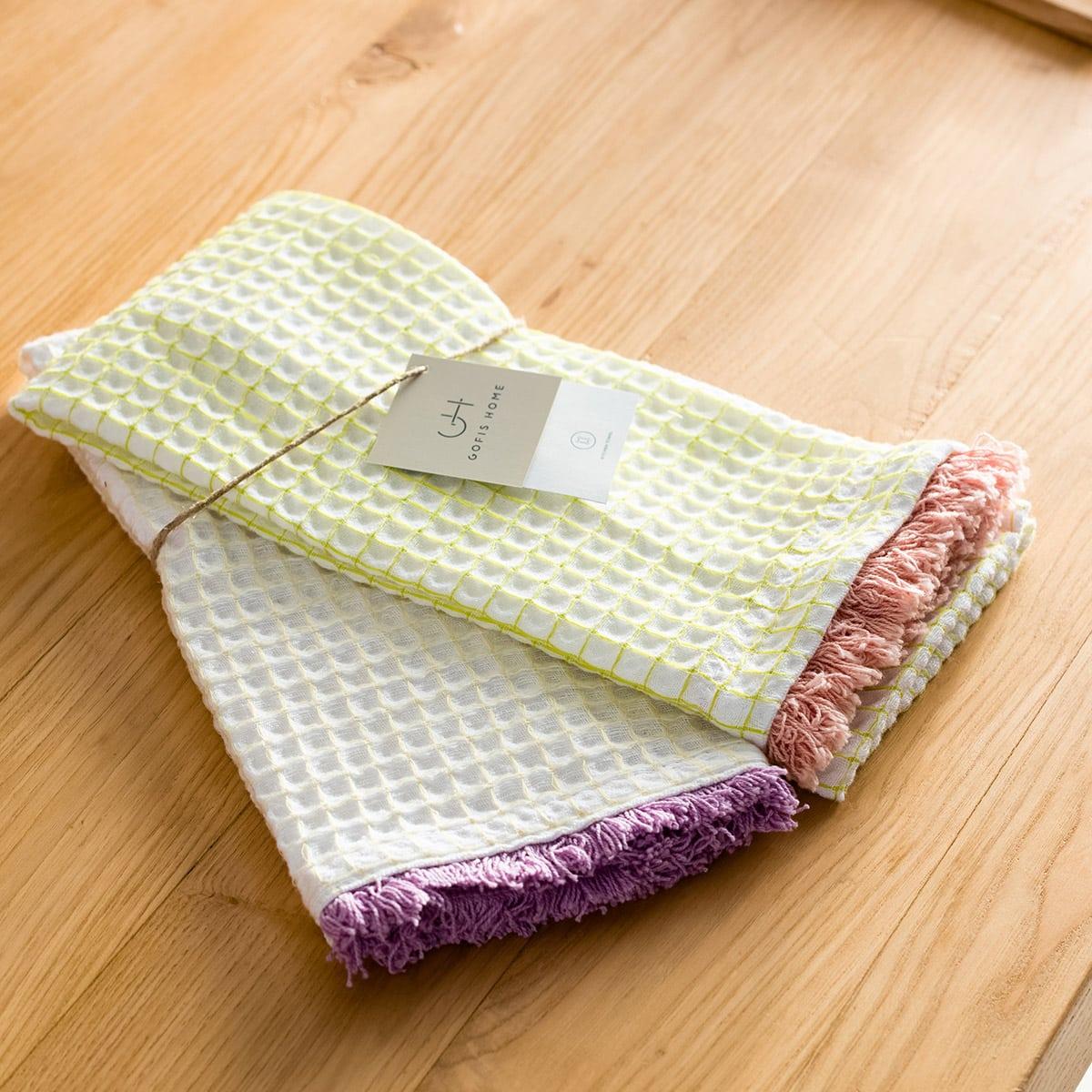 Ποτηρόπανα Adelain Σετ 2τμχ 590/18 Light Green-Pink Gofis Home