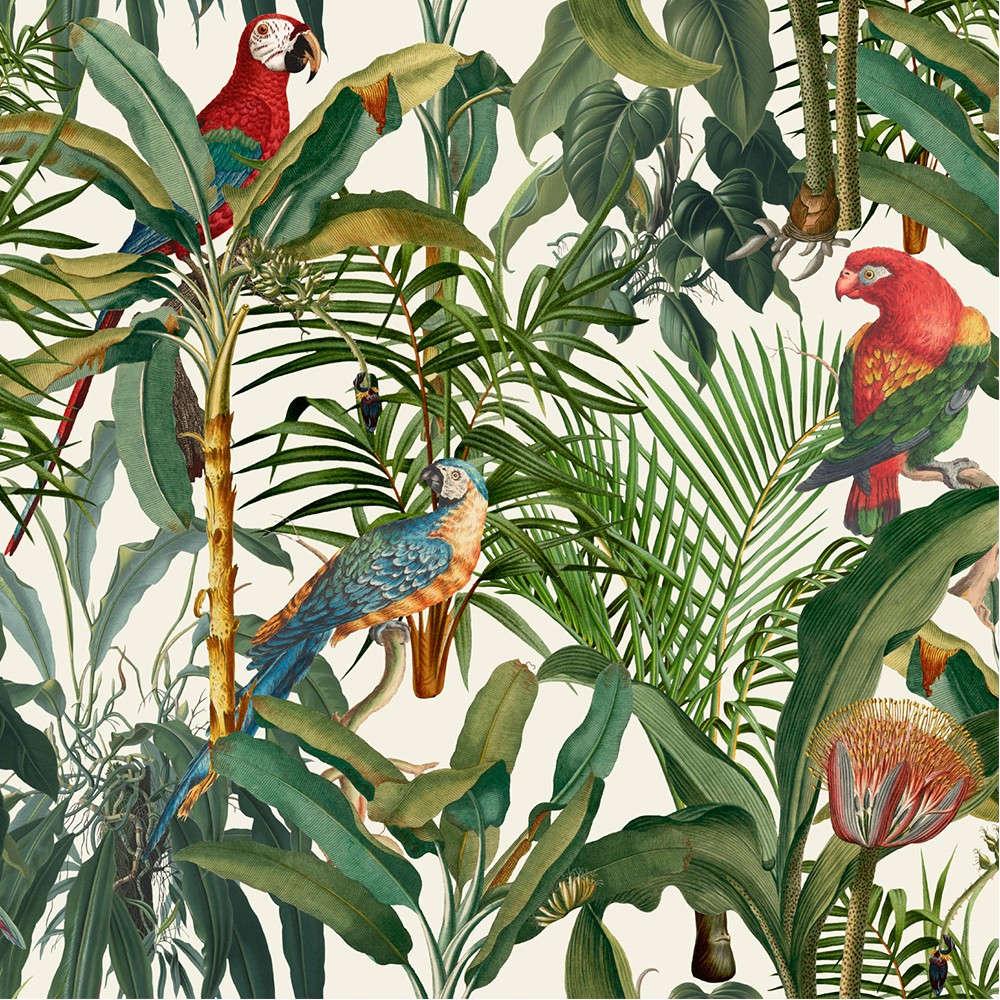Ταπετσαρία Parrots Of Brasil WP20521 Green-Taupe-Red MindTheGap