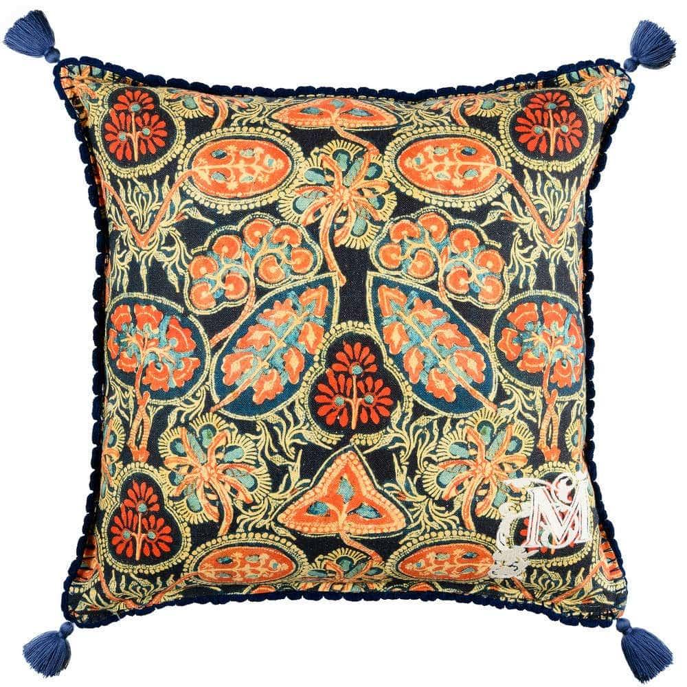 Μαξιλάρι Διακοσμητικό (Με Γέμιση) Heirloom LC40088 50×50 Blue-Orange MindTheGap 50X50 Πούπουλο-Φτερό