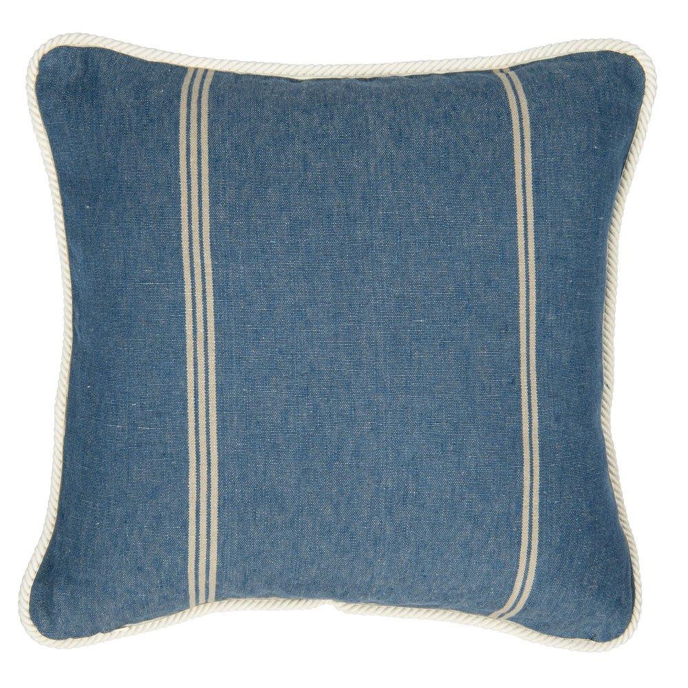 Μαξιλάρι Διακοσμητικό (Με Γέμιση) Katalin Stripe Lc40118 50X50Cm White-Blue Mindthegap 50X50 Πούπουλο-Φτερό