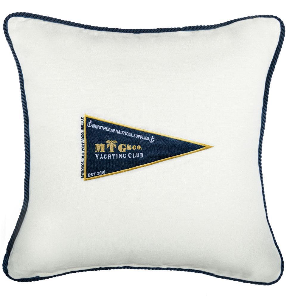 Μαξιλάρι Διακοσμητικό (Με Γέμιση) Mtg Yachting Club Lc40107 50X50Cm White-Blue Mindthegap 50X50 Πούπουλο-Φτερό