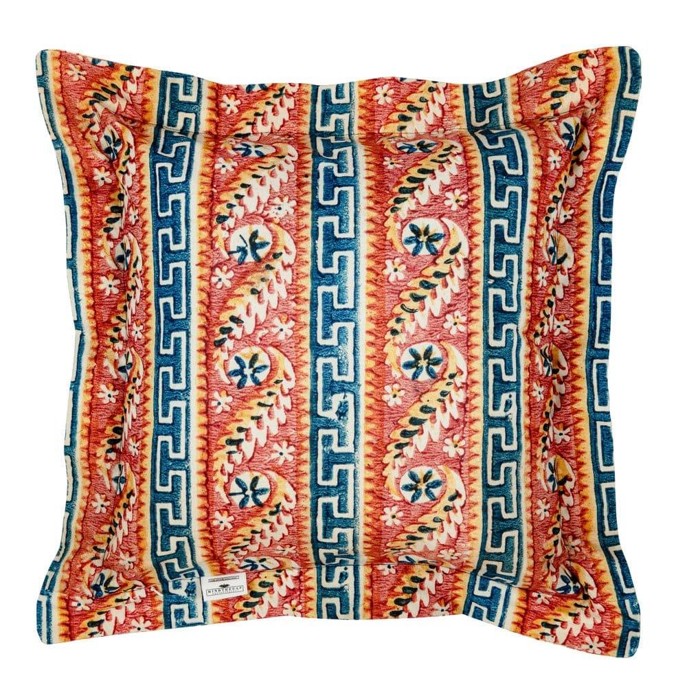 Μαξιλάρι Διακοσμητικό (Με Γέμιση) Samothraki Lc40116 50X50Cm Orange-Blue Mindthegap 50X50 Πούπουλο-Φτερό