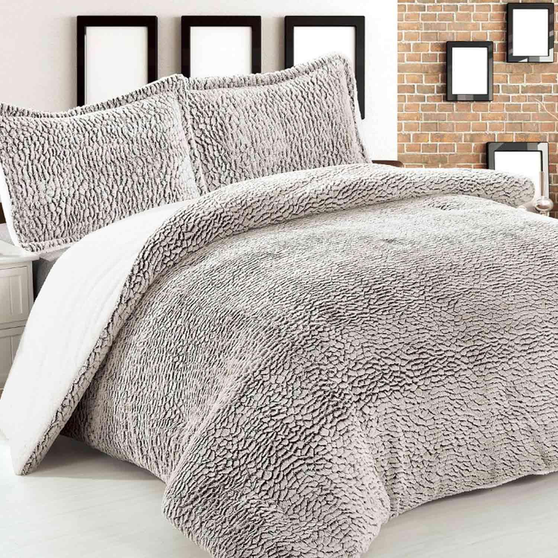 Κουβέρτα Quilt fur & Sherpa 8043 Grey Adam Home Μονό 160x240cm