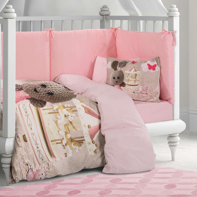 Βρεφικά Σεντόνια Σετ 3τμχ 2916 Baby Pink-Beige Greenwich Polo Club Κούνιας 120x170cm