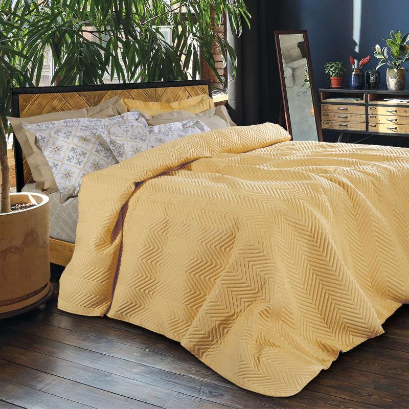 Κουβερλί 9454 Happy Mustard Das Home Υπέρδιπλo 220x240cm