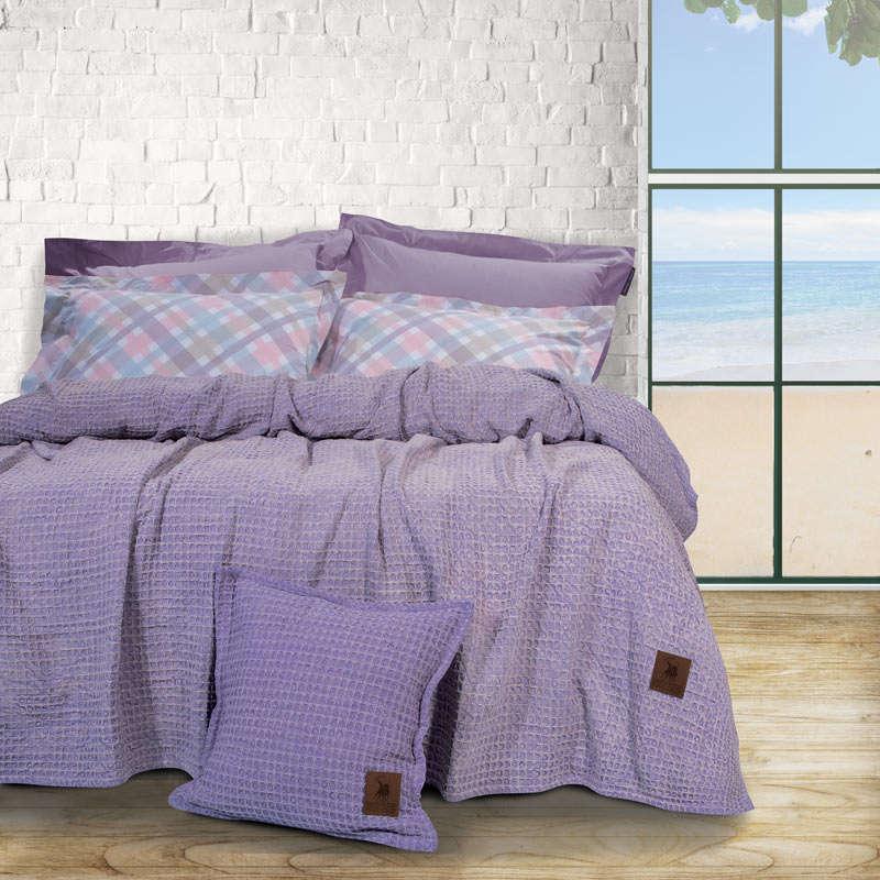 Κουβέρτα 2437 Stonewashed Πικέ Purple Greenwich Polo Club Υπέρδιπλo 220x240cm