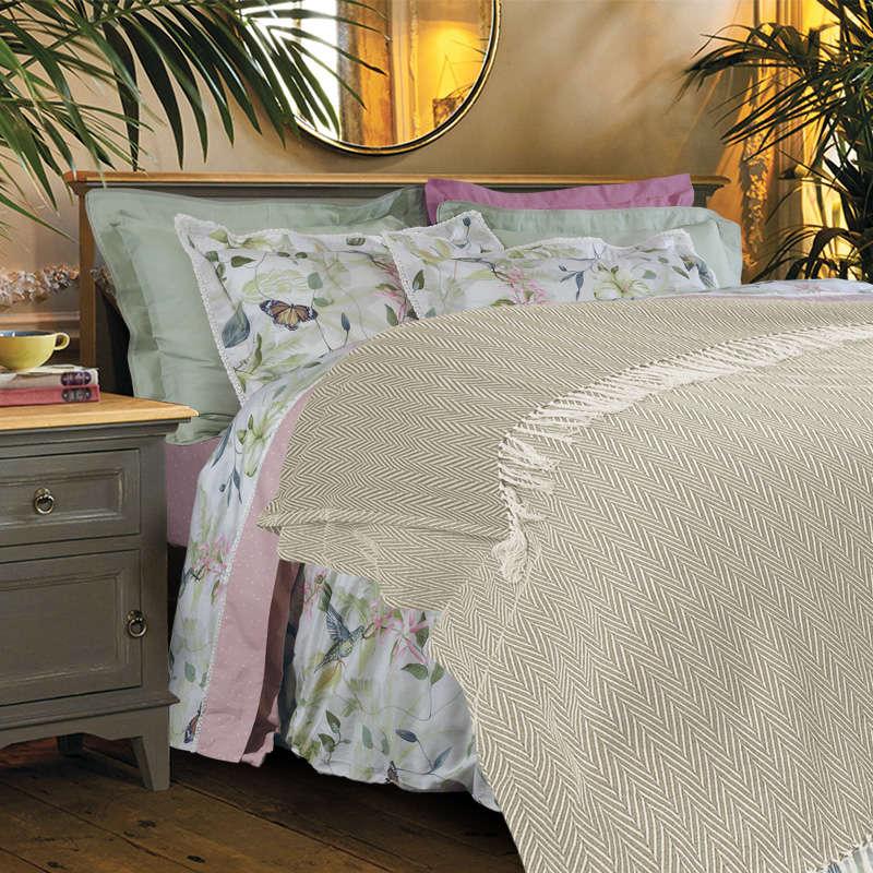 Κουβέρτα Με Κρόσια 342 Beige-Ecru Das Home Υπέρδιπλo 230x260cm