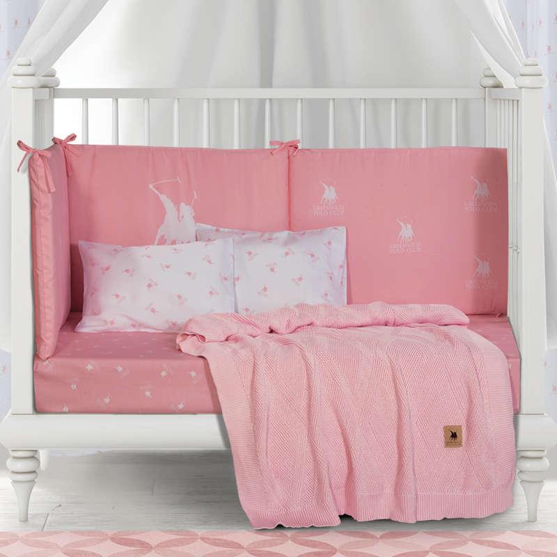 Βρεφική Κουβέρτα Πλεκτή 2954 Pink Greenwich Polo Club Αγκαλιάς 75x100cm