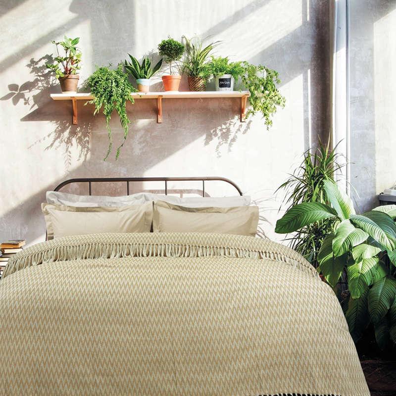 Κουβέρτα Με Κρόσια 380 Beige-Ecru Das Home Υπέρδιπλo 230x260cm