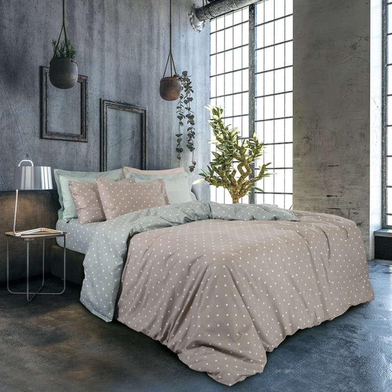 Παπλωματοθήκη Σετ 9462 Happy Flannel Beige-Mint Das Home Υπέρδιπλo 220x240cm