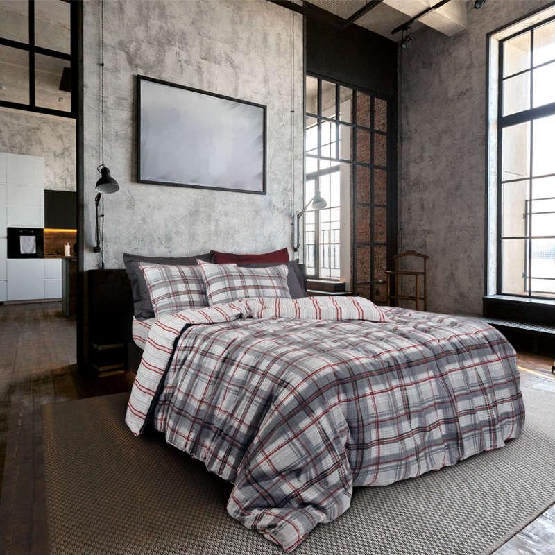 Παπλωματοθήκη Σετ 9464 Happy Flannel Grey-Red Das Home Μονό 160x240cm