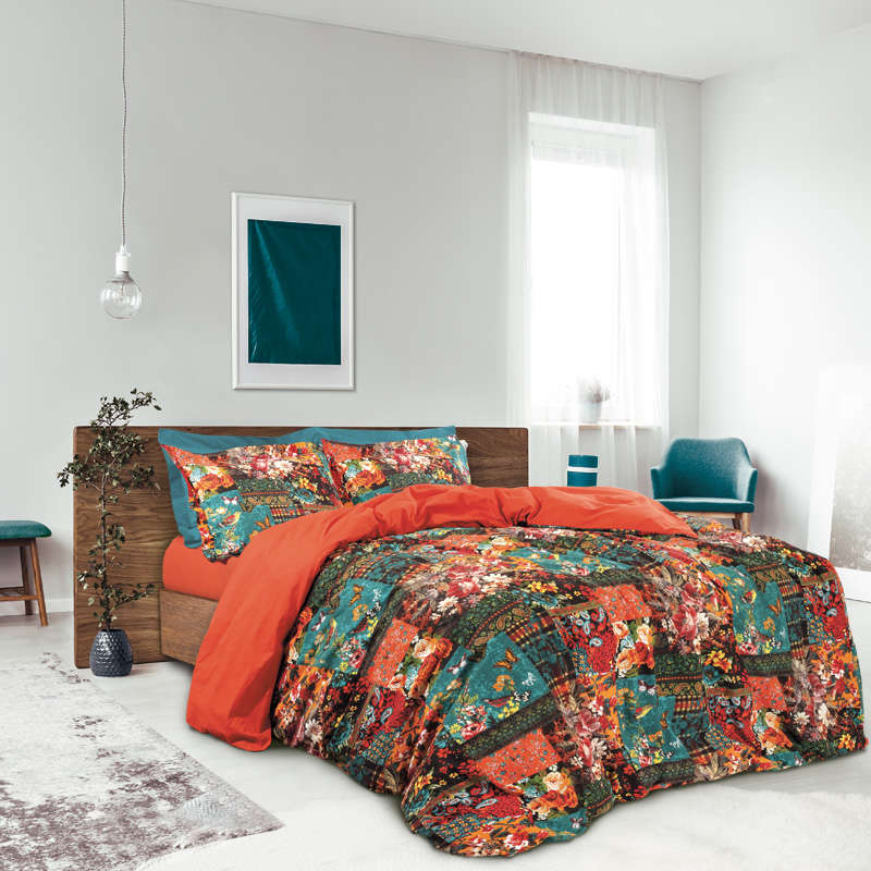 Παπλωματοθήκη Σετ Best 4695 Dark Orange-Petrol Das Home Υπέρδιπλo 220x240cm